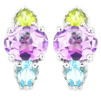 100% NATURAL 9X7MM AMETHYST PERIDOT SKY BLUE TOPAZ STERLING SILVER 925 EARRING