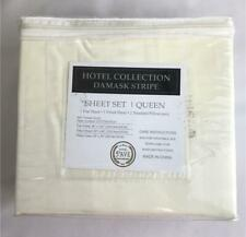 **Hotel 5th Avenue Collection Damask Stripe Ivory 4pc Queen Sheet Set 400 TC NEW