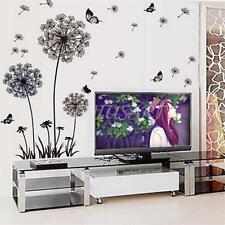 Adesivo Murale Wall Sticker Dente di Leone in PVC Nero Rimovibile 60x90cm Casa
