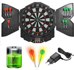 Elektronische Dartscheibe Dartboard mit Tür inkl. 4 LED 216 Spiele 12 Pfeile NEU