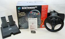 NEW InterAct SV-380A V3 FX Black Racing Wheel N64 nintendo 64 analog steering