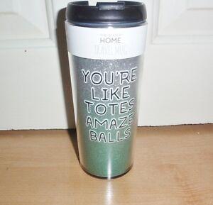 BNWT Primark YOU'RE LIKE TOTES AMAZE BALLS screw top travel coffee tea mug