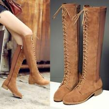 Genuine suede Cow Leather Women's  Lace Up Flat Knee High Riding Tall Boots NEW
