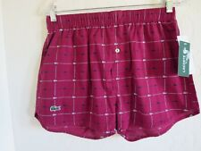 LACOSTE MENS UNDERWEAR AUTHENTIC CROC PRINT WOVEN BOXER,  RED,  SMALL,  NWT $24