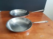 """ALL CLAD D3 ARMOR STAINLESS STEEL 10"""" SKILLET & ONE 8"""" SKILLET SET OF 2 VGUC"""