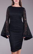 Plus Floral Crochet Lace Bell Sleeve Bodycon Midi Dress