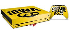 Skin Set for XBOX One X Iowa Hawkeyes Tigerhawk Oval 01 Black on Gold