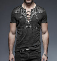 Punk Rave Casual Men's Gothic Rock Metal T-Shirt Top Steampunk casual Black Top