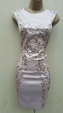 Size UK 12 Karen Millen Natural Metallic Sequin Satin Pencil Mini Dress