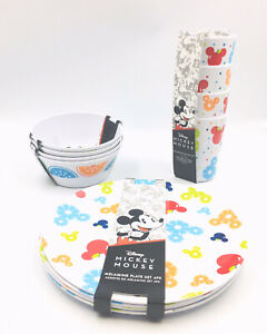 Mickey Mouse Melamine Assorted 16 Piece Plate Bowl And Cup Set, 4 Piece Each