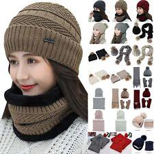 Women's Woolen Knitted Winter Beanie Hat Scarf Gloves Sets Warm Ski Skull Cap