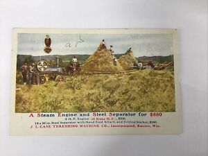 ADVERTISING POSTCARD STEAM  ENGINE SEPARATOR J. I. CASE THRESHING MACHINE CO.