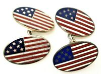Details about  /Shiny American US Flag Cufflinks in 14K White Gold Over For Men/'s with Enamel