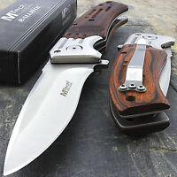"8"" MTECH USA WOOD SILVER SPRING ASSISTED FOLDING POCKET KNIFE Open Assist EDC"