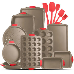 15 Piece Bakeware Set Nonstick Carbon Steel Oven Safe with Silicone Handles