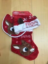 Babys First Christmas Rudolph The Red Nosed Reindeer Bib Hat & Stocking Set Soft