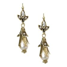 NEW SWEET ROMANCE ART NOUVEAU LILY OF THE VALLEY PEARL DROP EARRINGS ~~USA MADE~