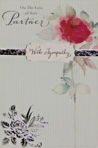 """""""On The Loss Of Your Partner"""" Sympathy Card ~ Traditional Red Rose"""