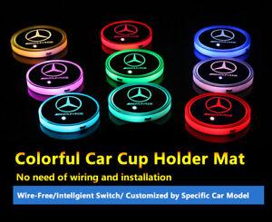 2pcs Colorful LED Coaster Atmosphere Car Light For Mercedes-Benz Neon Lights