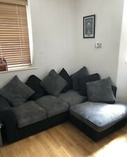 USED Black & Grey Corner Fabric Sofa