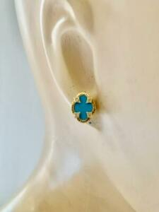 "JUDITH RIPKA Turquoise Diamond Accent 14K Gold Clover Shape Earrings 1/2"" x 3/8"""