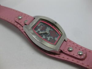 Women's Ladies Pink Leather Watch w/ Floral Face Working ZR55084 110501 WORKS