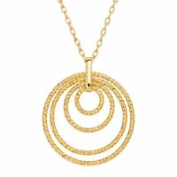 Four Halo Circle Pendant in 18K Gold-Plated Bronze, MADE IN ITALY, 18""