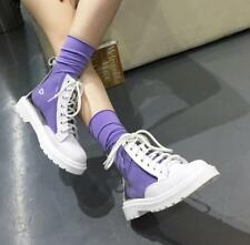 Womens PVC Clear Ankle Boots Lace Up Punk Low Heels Round Toe Shoes Mixed Color
