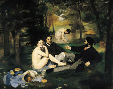 Wonderful Oil painting The Picnic on grass in forest landscape & naked woman