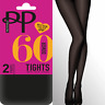 Pretty Polly Opaque Tights 60 Denier Opaques 2 Pack Black Grey Navy Brown Green