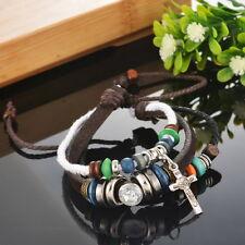 1PC Beaded Cross Leather Adjustable Bracelet Handmade Cuff Women/Men`s Gift