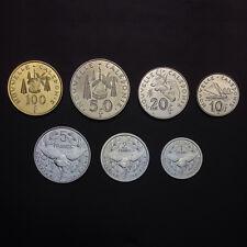 """New Caledonia set of 7 coins, """"1+2+5+10+20+50+100 francs"""", 2008-2011, UNC"""