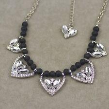 lia sophia signed jewelry black wood beads polish pendant necklace cut crystal