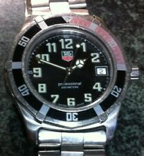 TAG HEUER DIVERS WATCH QUARTZ 20 BAR DATE SS CASE & BAND BLACK FACE BOX PAPERS