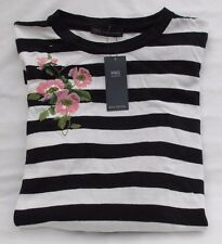 LADIES MARKS AND SPENCER NAVY MIX STRIPED JUMPER WITH EMBROIDERED FLOWER SIZE 20