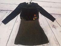 Girls David Charles Long Sleeve Dress, Green, 10