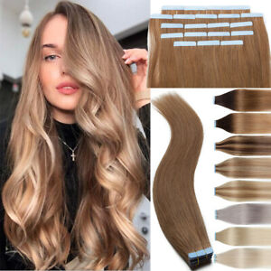 Tape In 100% Remy Human Hair Extensions Skin Weft 50G+ THICK Skin Weft Full Head