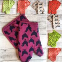 SUPER QUALITY DOUBLE OVEN GLOVES MITT 100% COTTON POT HOLDER KITCHEN COOKING