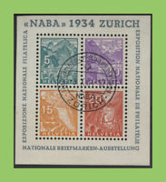 Switzerland 1934 National Philatelic Exhibition, Zurich (NABA). Sheet 62x72 used