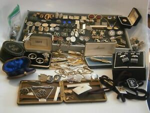 60+ Vintage-now Cuff Link Tie Bars Tacks Clips Studs Sterling 14K Hickok AS IS