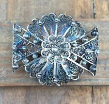 PORTUGAL Flower Petals FILIGREE Sterling Silver Pin Brooch 925 Antique Vintage