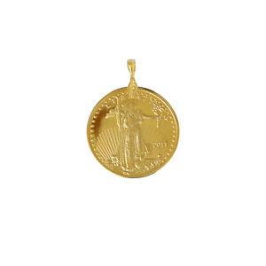 Walking Liberty Lady $50 Coin Pendant Mens 24k Gold Plated American Pendants