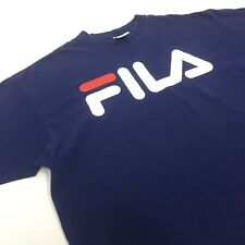 FILA Blue T-shirt Spell Out VTG made in USA XL 1999