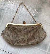 "LOFT ANN TAYLOR CLUTCH PURSE 9""  Tan Pink Tapestry Globe Clasp Chain Handle"