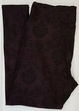 OS LuLaRoe One Size Leggings NEW Damask Floral Dark Purple Black NWT 607