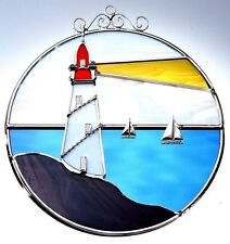 Stain Glass Lighthouse on Wire Ring