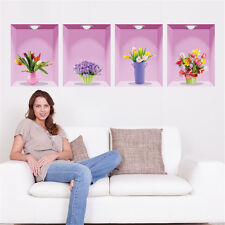 3D Flowers Vase Pictures Home Room Removable Wall Stickers Decal Decoration