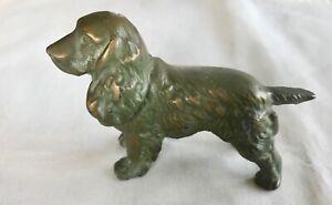 Vintage Antique Bronze Cocker Spaniel Dog Sculpture Statue Paperweight