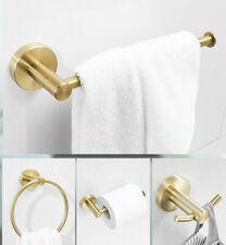 4pcs Brushed Gold Bathroom Accessories Set Toilet Paper Holder Towel Ring Hook