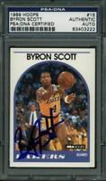 Lakers Byron Scott Authentic Signed Card 1989 Hoops #15 PSA/DNA Slabbed